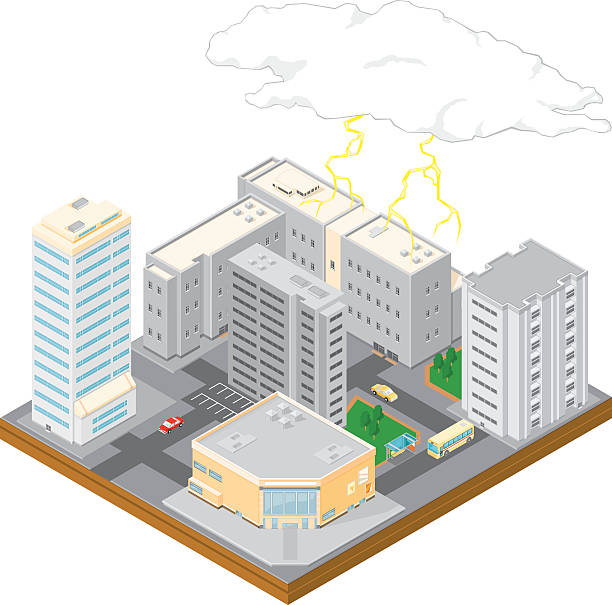 Isometric City Storm A vector illustration of an isometric city scape with clouds and forked lightning. forked lightning stock illustrations