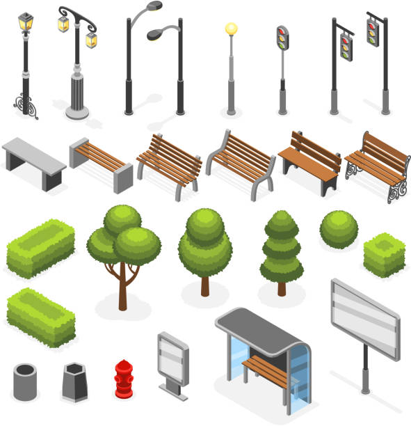 isometric city street outdoor objects vector set - light through trees stock illustrations