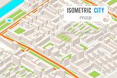 Isometric City street road map urban landmark place town 3d flat design vector illustration