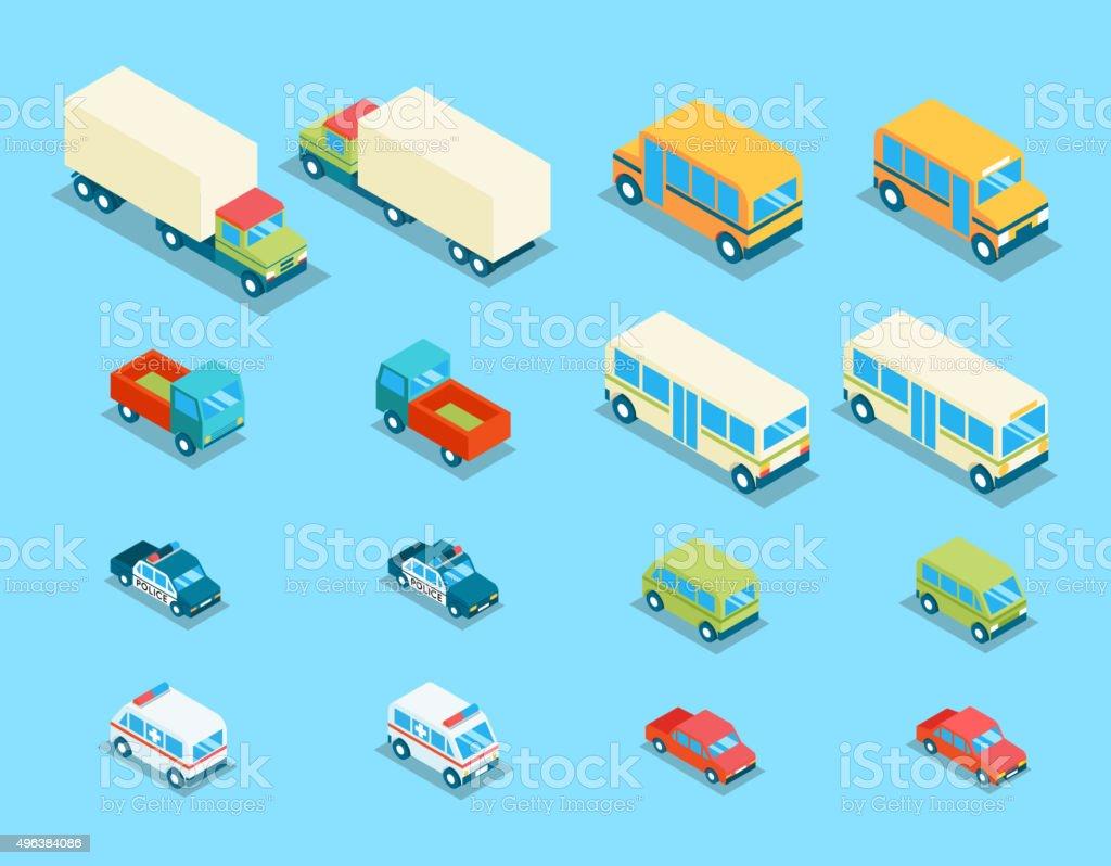 Isométricos de la ciudad 3d vector conjunto de iconos de transporte - ilustración de arte vectorial