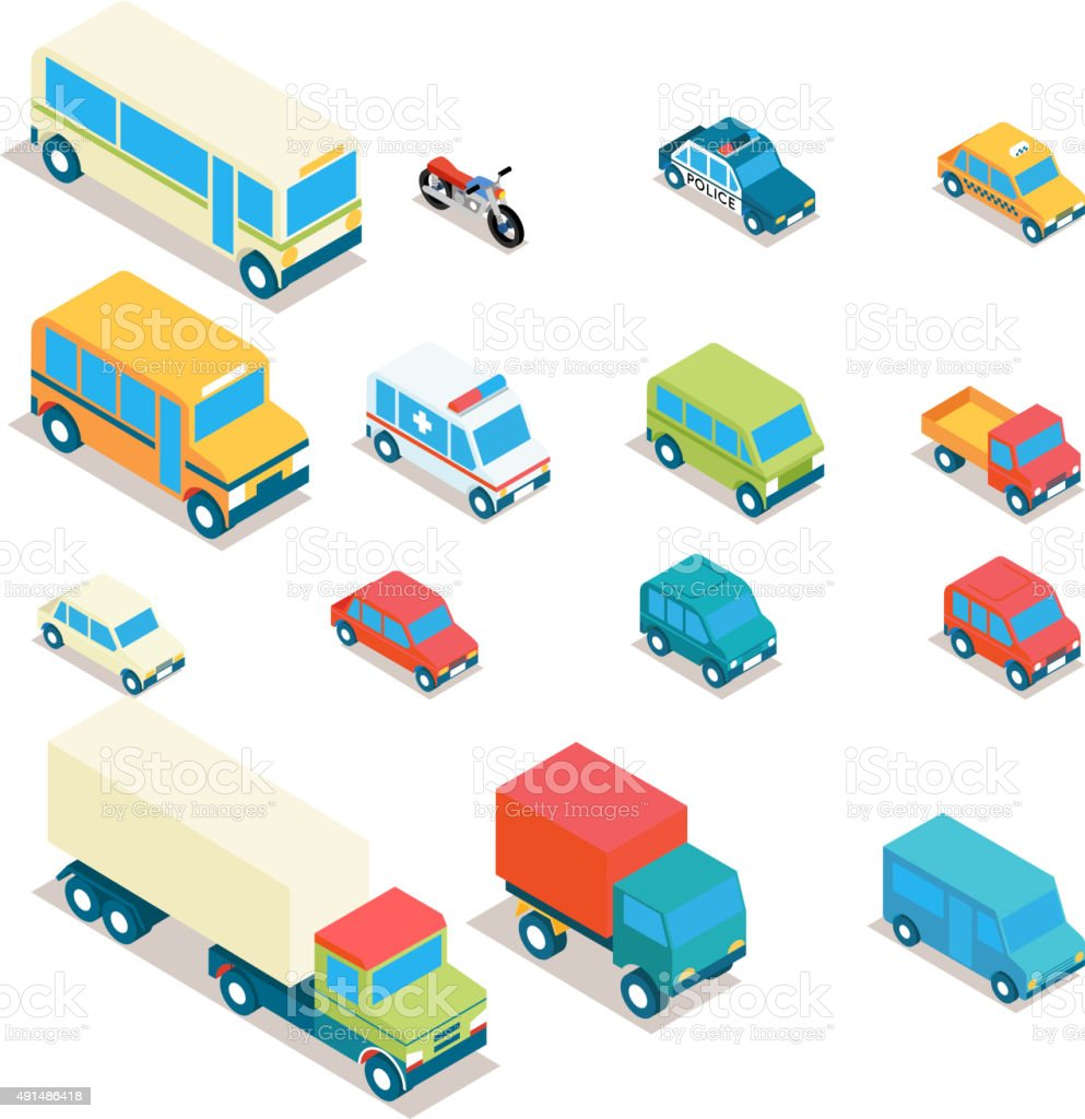 Isometric city transport and trucks vector icons. Cars, minibus, bus vector art illustration