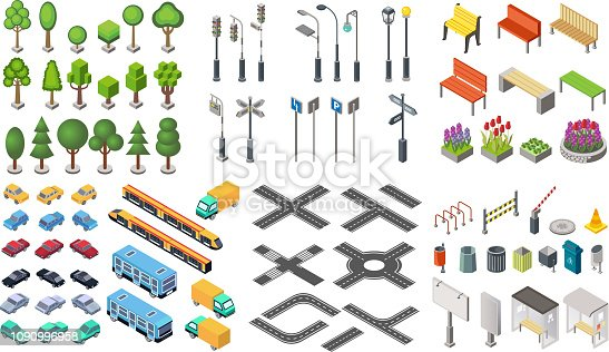 Isometric city vector collection. Trash cans, signboards with bus stops, restriction signs, park city trees and bushes, road and highways, road signs and lights set
