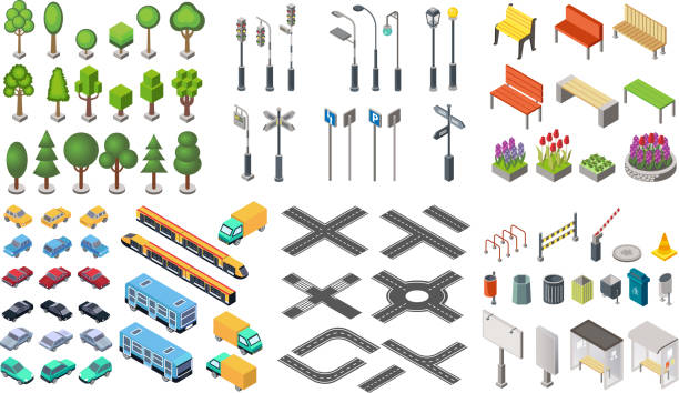isometric city vector collection - traffic stock illustrations