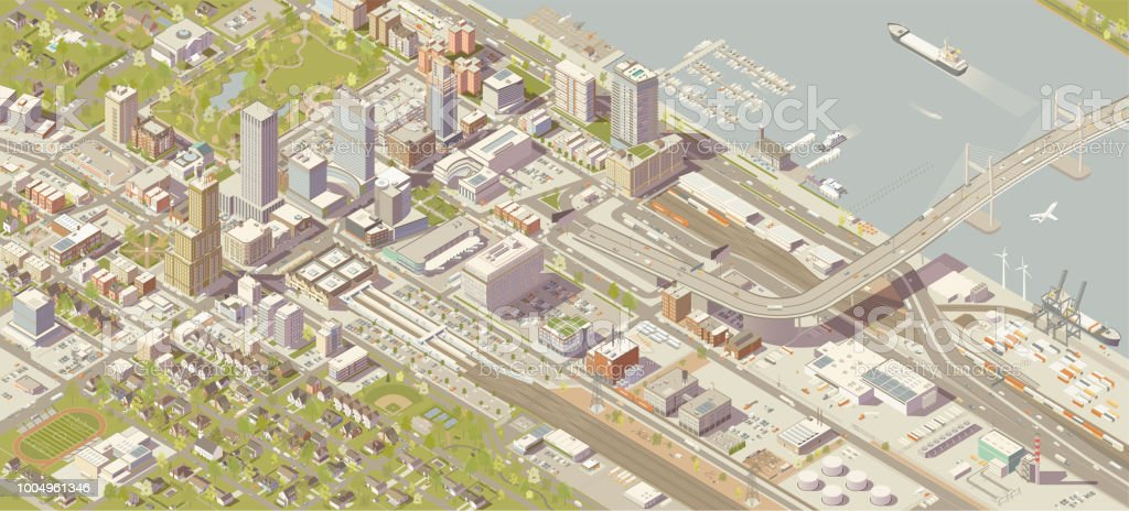 Isometric City Isometric city vector illustration in high detail includes commercial and industrial centers, a shipping port, riverfront with bridge, and rail access. Details include shops, theaters, museums, schools, houses, parks, a marina, offices, boats, aviation, and parking. Hundreds of buildings and trees and thousands of vehicles are illustrated here manually, using vector software without the use of 3d programs. City stock vector