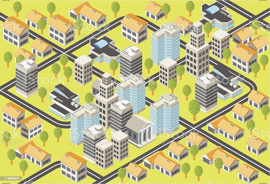 Isometric city vector art illustration