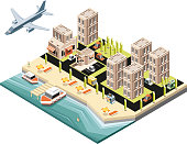 Easy editable isometric  seaside town vector illustration..