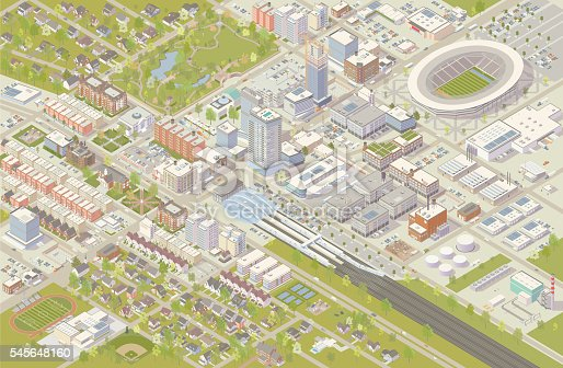 Isometric city vector illustration shows detailed suburbs, downtown, industrial area, and residential neighborhoods. Hundreds of buildings are illustrated in different styles, serving cultural, government, commercial, industrial, and residential needs. A railroad terminal leads into the city center, and a sports stadium has been built nearby. Trees, parks, cars and trucks complete this detailed cityscape, shown in aerial view.