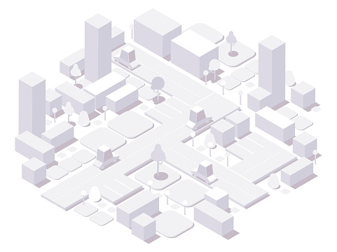 Isometric city white concept. 3d dimensional buildings and cars,trees and elements isolated on white