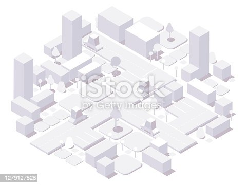 Isometric city white concept. 3d dimensional buildings and cars,trees and elements isolated on white.