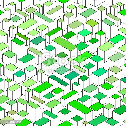 isometric city seamless pattern with green roof