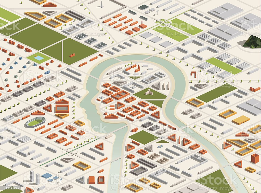 Isometric City with Head Shaped Center vector art illustration