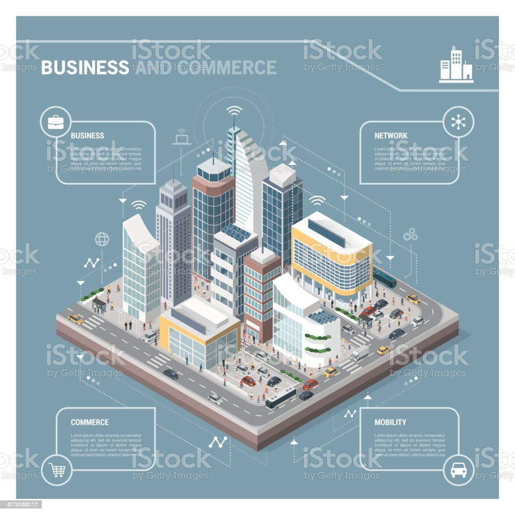 Isometric city with skyscrapers infographic vector art illustration