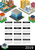 Isometric cityscape 2019 year calendar poster with modern buildings factory estates transport trees vector illustration