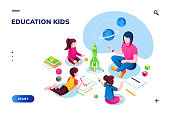Isometric class at kindergarten with woman teacher for smartphone application page. Children or kids painting at preschool or playschool. Web education, training technology for pupil. School theme