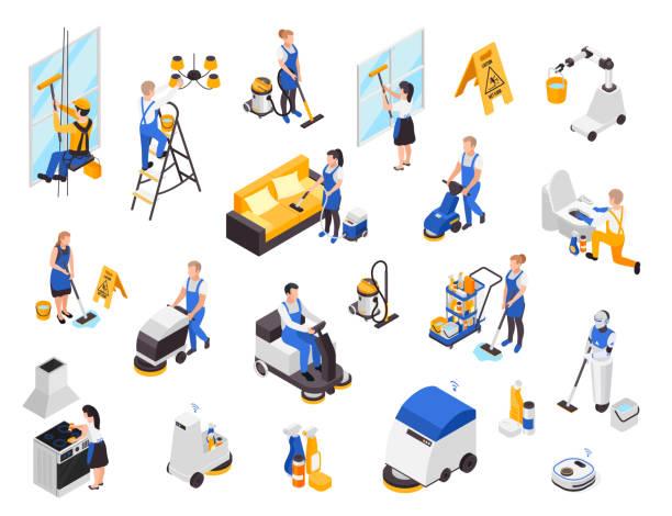 illustrazioni stock, clip art, cartoni animati e icone di tendenza di isometric cleaning service set - addetto alle pulizie