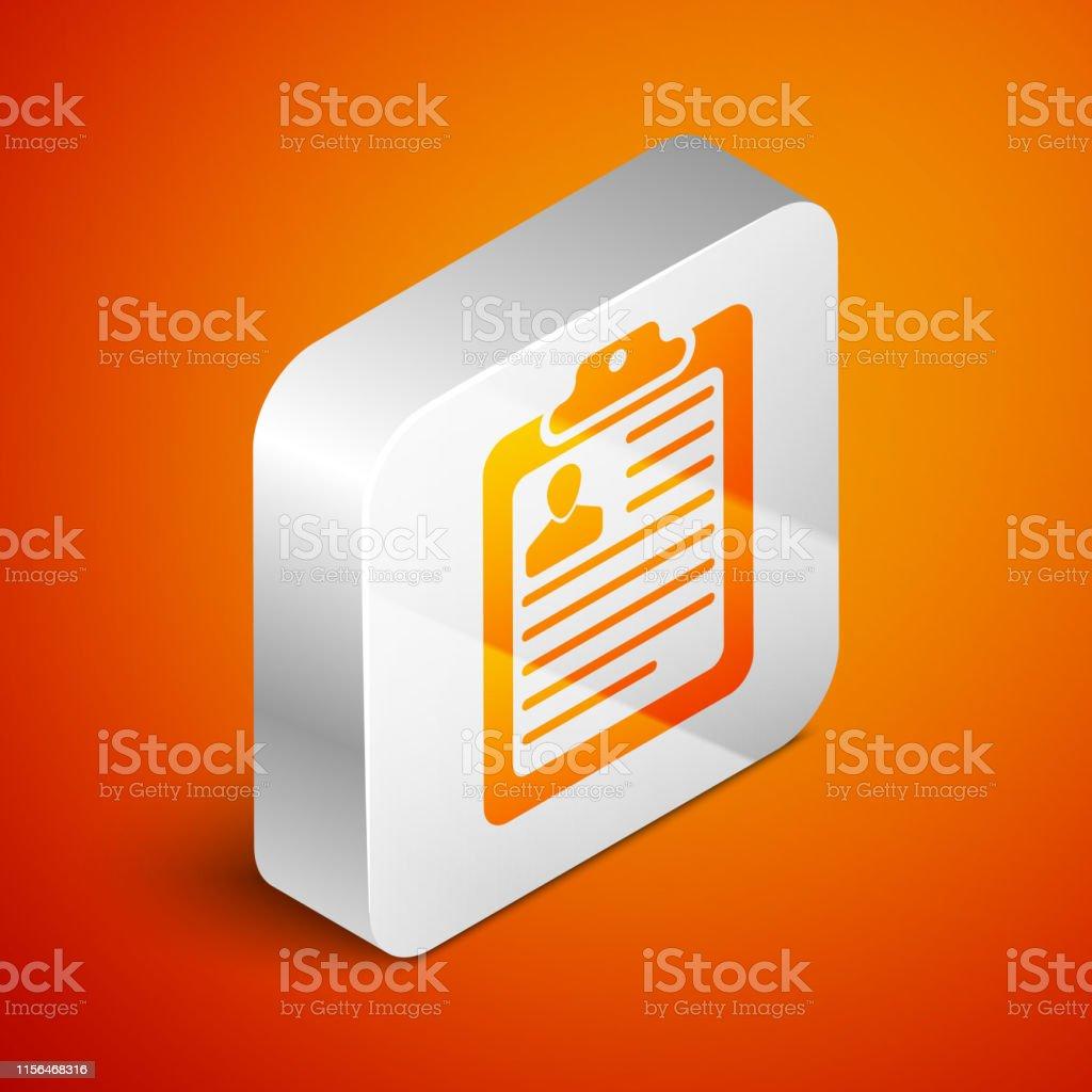 Isometric Clipboard With Resume Icon Isolated On Orange
