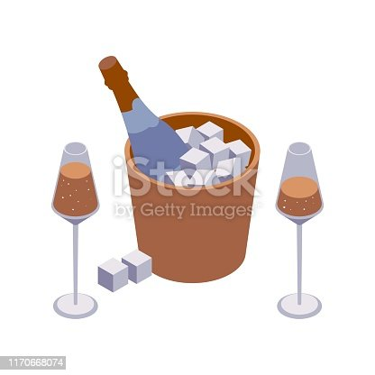 Isometric closeup scene with two wineglasses and sparkle wine bucket with cubes and bubbles isolated on white