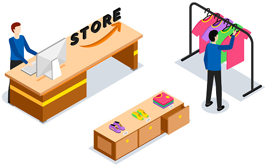 Isometric clothing store with buyer. Man chooses T-shirt in boutique. Cashpoint, shopping, sales