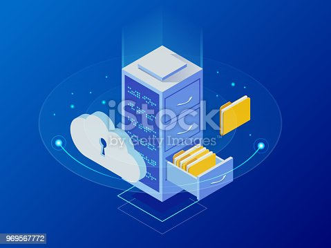 Isometric cloud computing concept represented by a server, with a cloud representation hologram concept. Data center cloud, computer connection, hosting server, database synchronize technology.