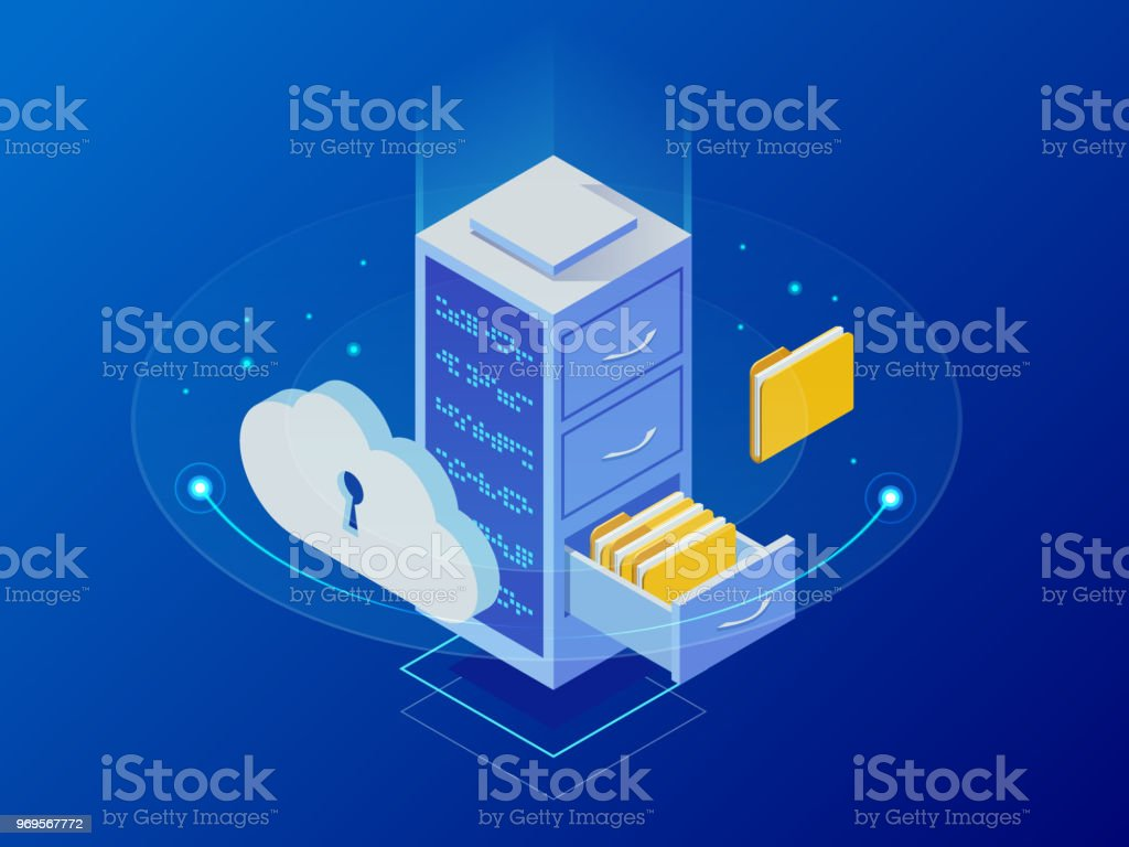 Isometric cloud computing concept represented by a server, with a cloud representation hologram concept. Data center cloud, computer connection, hosting server, database synchronize technology vector art illustration