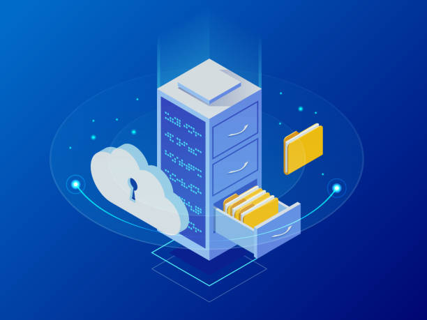 isometric cloud computing concept represented by a server, with a cloud representation hologram concept. data center cloud, computer connection, hosting server, database synchronize technology - warehouse stock illustrations