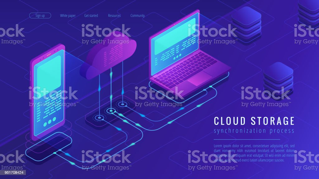 Isometric cloud storage landing page concept vector art illustration