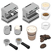 An isometric vector illustration  set of Coffee Icons.