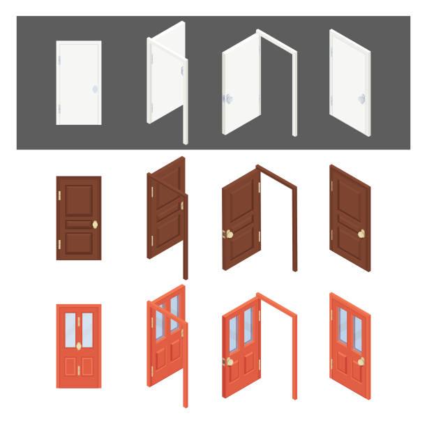 Isometric Collection of doors. Flat 3d closed, open, black, handle, modern, house, office, wooden, white doors. House entrance architecture elements flat icon set isolated vector illustration Isometric Collection of doors. Flat 3d closed, open, black, handle, modern, house, office, wooden, white doors. House entrance architecture elements flat icon set isolated vector illustration front door stock illustrations