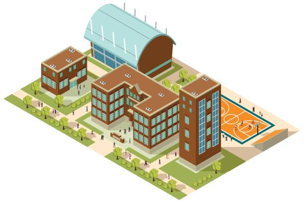 Isometric College Campus A vector illustration of Isometric College Campus with Buildings and Soccer Field campus stock illustrations