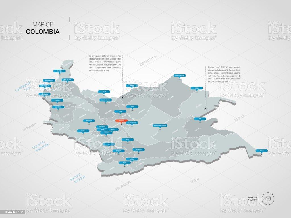 Mapa De Colombia Ciudades.Ilustracion De Mapa De Colombia Isometrica Con Nombres De