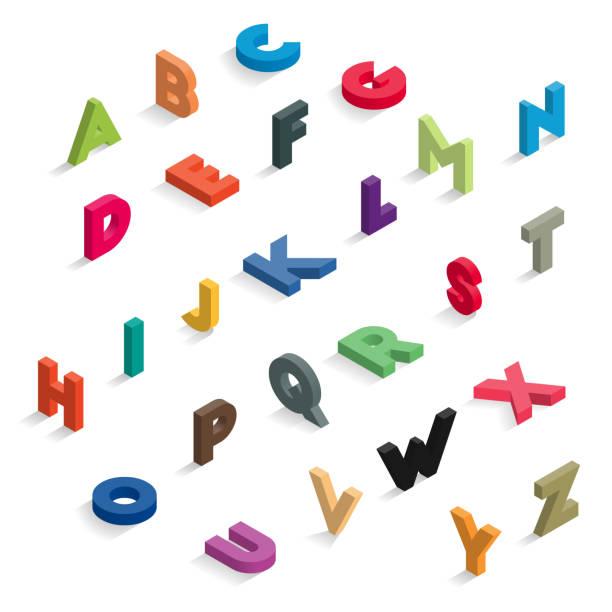 ilustraciones, imágenes clip art, dibujos animados e iconos de stock de letras de color isométricas - font