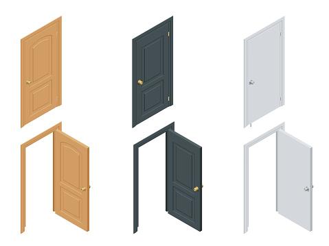 Isometric colored doors
