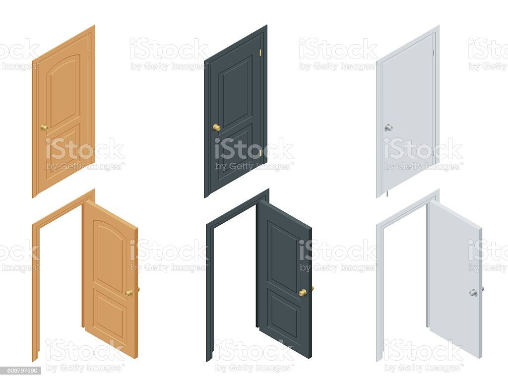 Isometric colored doors vector art illustration