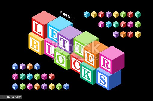 Isometric colorful letter blocks alphabet, letters and numbers, vector illustration