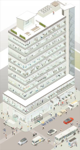 Isometric commercial building vector art illustration