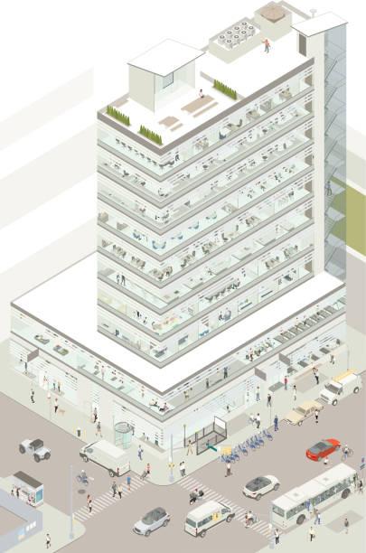 Isometric commercial building vector art illustration
