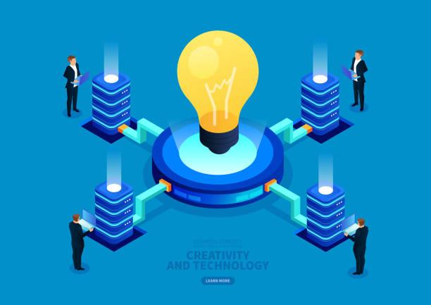 stockillustraties, clipart, cartoons en iconen met isometrische commerciële digitale technologie en creativiteit - uitvinding