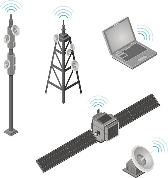 Isometric communications Icons A vector illustration of various Isometric communications and technology Icons.  repeater tower stock illustrations