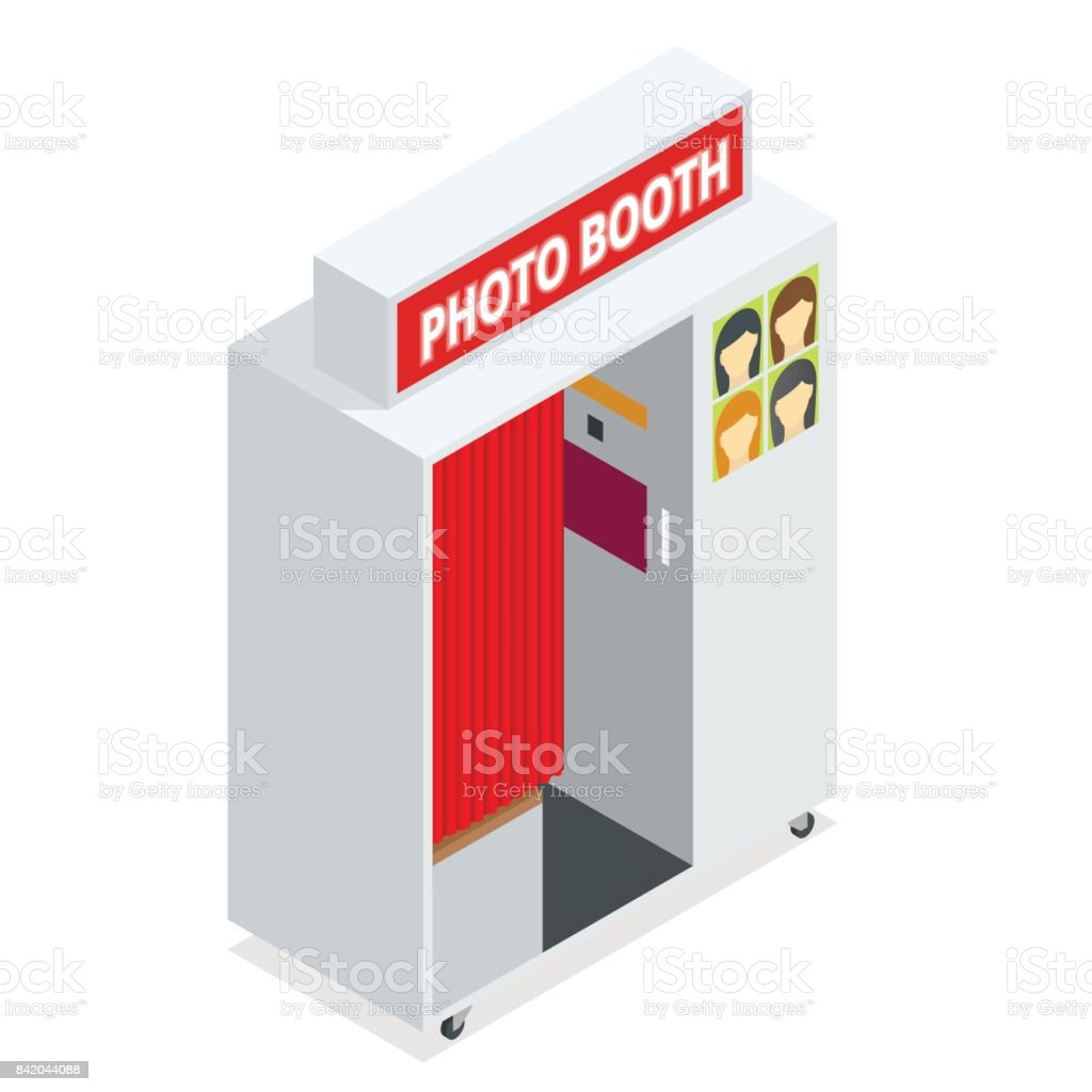 Isometric Compact Photo Booth. Flat 3d isometric illustration. For infographics and design games. Photorealistic and Template photo design. vector art illustration