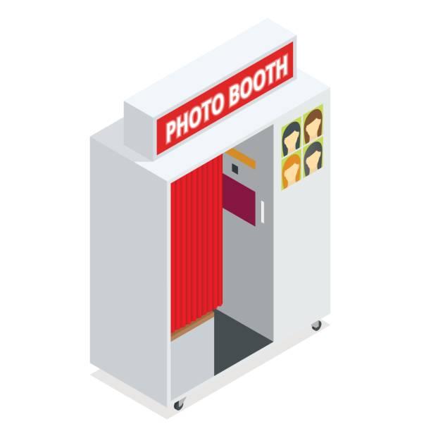 stockillustraties, clipart, cartoons en iconen met isometrische compact photo booth. platte 3d isometrische illustratie. voor infographics en ontwerp games. fotorealistische en sjabloon foto design. - photography curtains