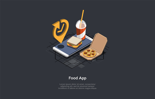 Isometric Composition, Cartoon 3D Style. Vector Illustration Of Food And Products Application Advertisement Layout. Dark Background, Writing. Telephone, Time Sign Element, Pizza, Sandwich And Beverage.