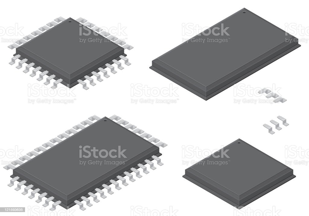 Isometric Computer Processors royalty-free stock vector art
