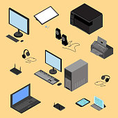Isometric computer technology concept. Tablet, laptop, processor, printer, peripheral devices, router, headphones, fax in vector