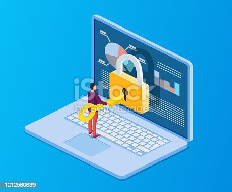 Data protection. Internet security. 3d isometric people, man computer pc with key, lock. Concept for web page, banner, presentation, social media, documents cards, posters