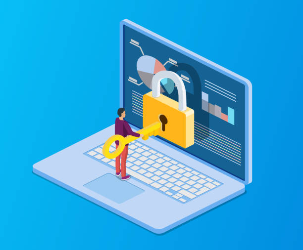 isometric computer with key, lock Data protection. Internet security. 3d isometric people, man computer pc with key, lock. Concept for web page, banner, presentation, social media, documents cards, posters encryption stock illustrations