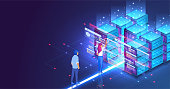 Isometric concept a young woman and man creates a custom design datacenter or blockchain background.Hosting server. UI UX design.