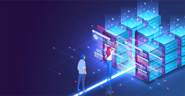 isometric concept a young woman and man creates a custom design datacenter or blockchain background.hosting server. ui ux design. network mainframe infrastructure website layout. landing page template - computer server room stock illustrations