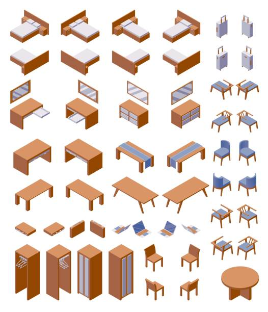 ilustrações de stock, clip art, desenhos animados e ícones de isometric concept furniture large collection good for hotel room or guest house number. vector wooden set with beds, chairs and tables with blue fabric - top view, wood table, empty