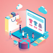 Online Shopping isometric concept illustration with people