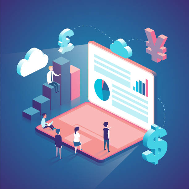 isometric concept illustration with people vector art illustration